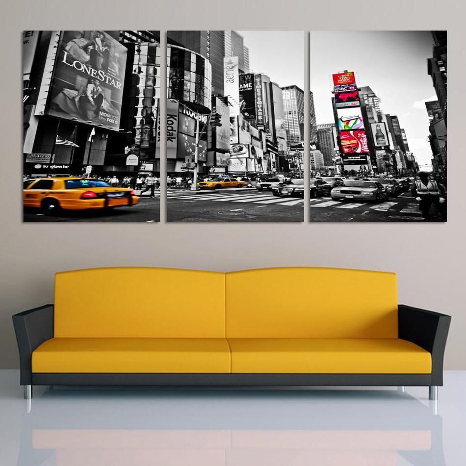 Fashion Home Decor Canvas 3 Piece Wall Art Picture City Night Print Painting Modern decoration No frame F155