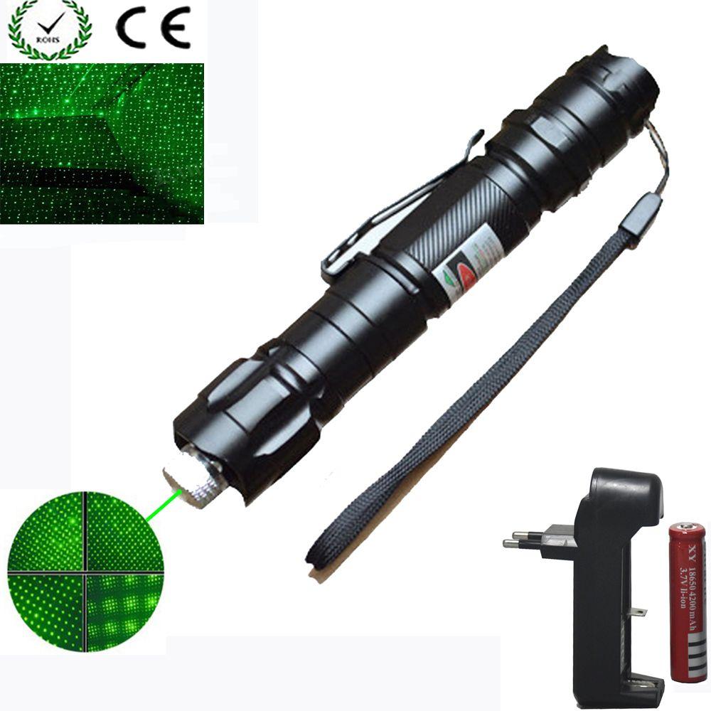 High Power green Laser Pointer 1000m 5mW Green Hang-type Outdoor Long <font><b>Distance</b></font> Laser Sight +18650 Battery+Charger