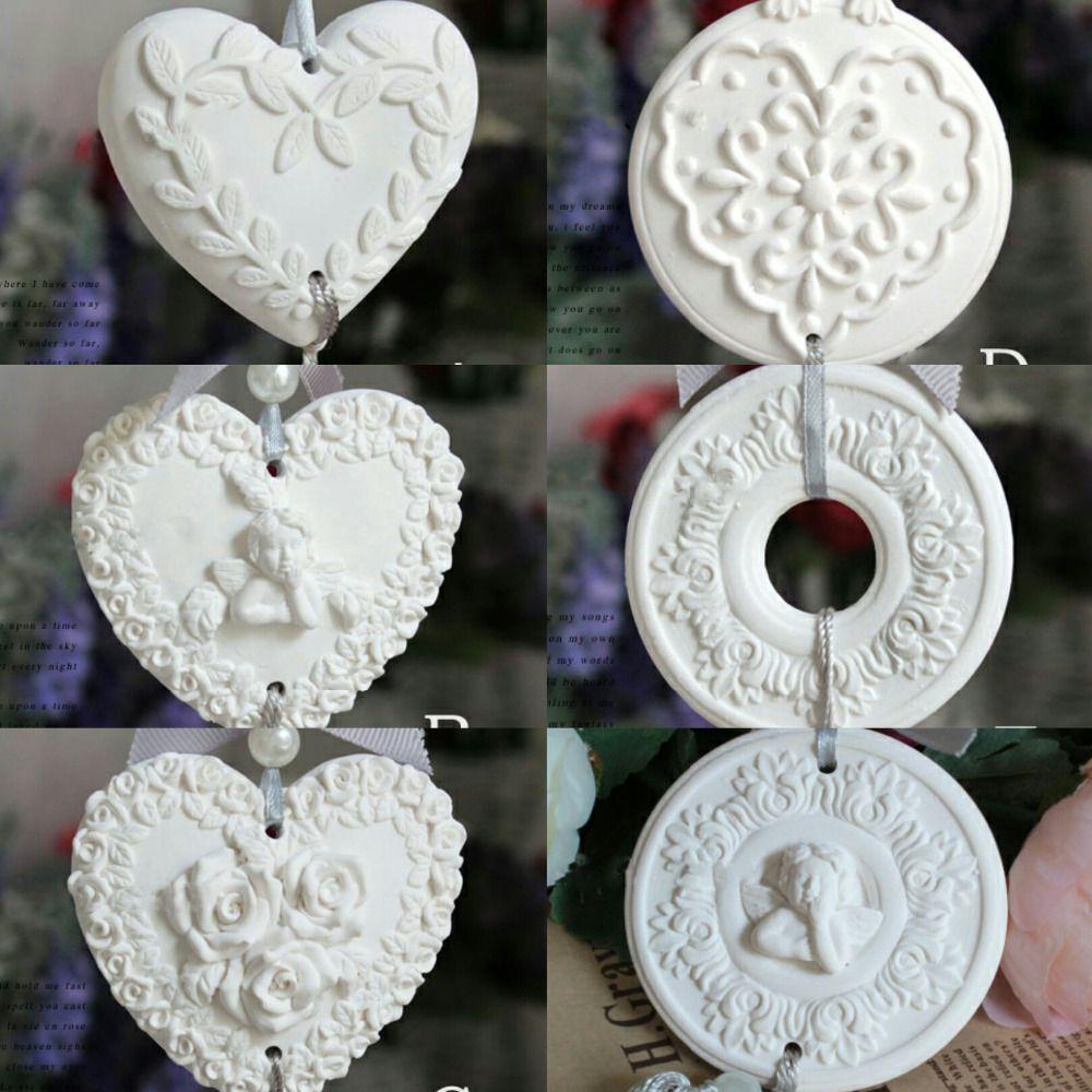 PRZY silicone moule arôme moules en forme de coeur, feuilles, anges, roses, guirlandes, couronnes d'ange 6 styles à la main fondant moule