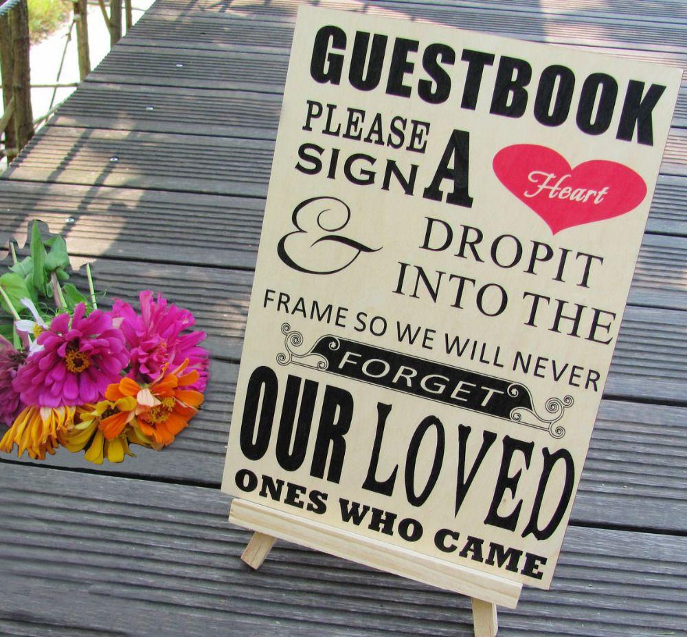 S'il vous plaît signer un coeur signe pour les cadres de livre d'or de boîte de baisse de coeur de mariage en bois
