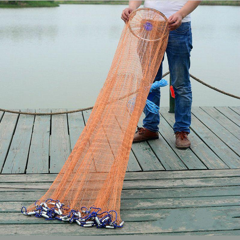 Angeln Cast Netze Durchmesser 2,4 M-4,2 M mit Blei Platinen USA Stil Fangen Angeln Netto Kleine Netz Fly hand Werfen Gill Netzwerk