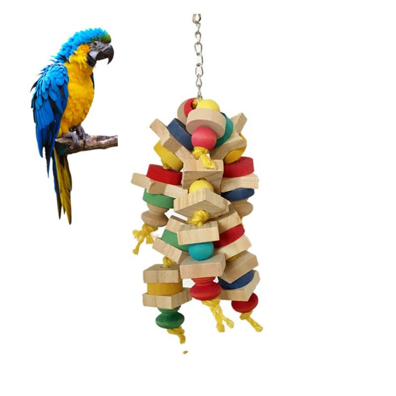 Wooden Pet Bird Swing Toys Parrot Toys Interesting Ladder Climbing Chewing Toys For Pet Bird Birdcage Pendant Decoration