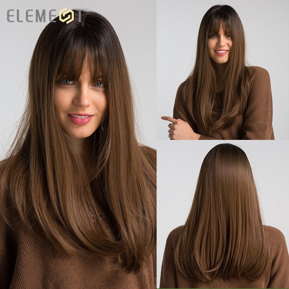 Élément 18 perruque synthétique longue avec frange racine foncée Ombre couleur haute densité naturel casque résistant à la chaleur perruques de cheveux pour les femmes