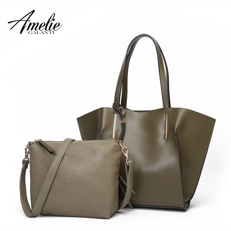 AMELIE GALANTI frauen Schulter Tasche Verbund Tasche Hohe Qualität Weichen PU Leder Stoff Frauen Handtaschen mit Quasten Haspe Taschen