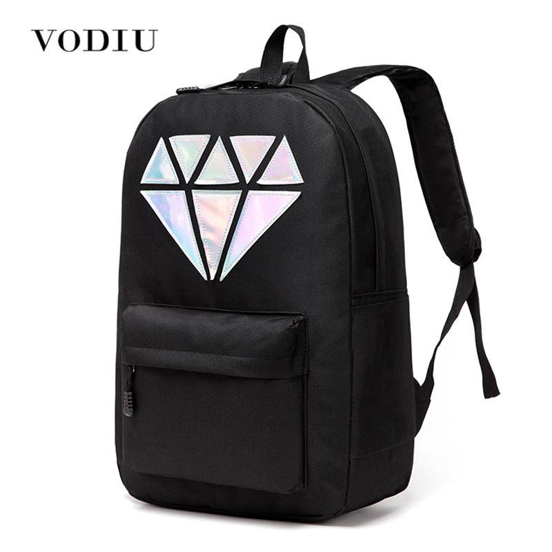 Women Backpack Schoolbag Teenage Backpacks For Girls Holographic Canvas Men Backpack Male Laptop Waterproof Diamond School Bag