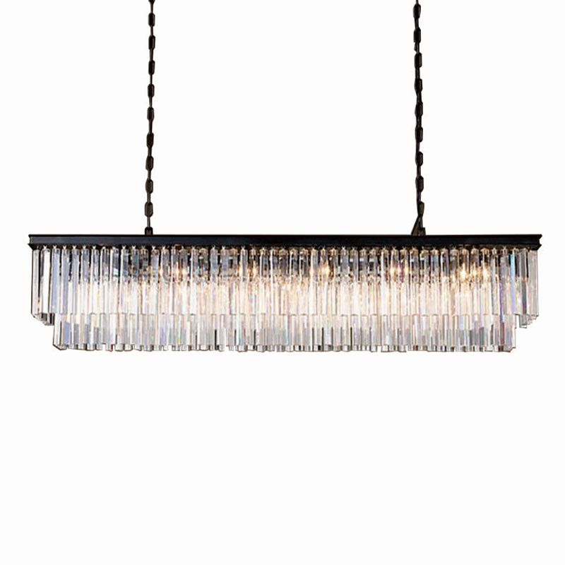 KINLAMS Modern Rectangular Lustre Crystal Chandelier Light Semiflush Mount Crystal Chandeliers Lighting Fixtures For Living Room