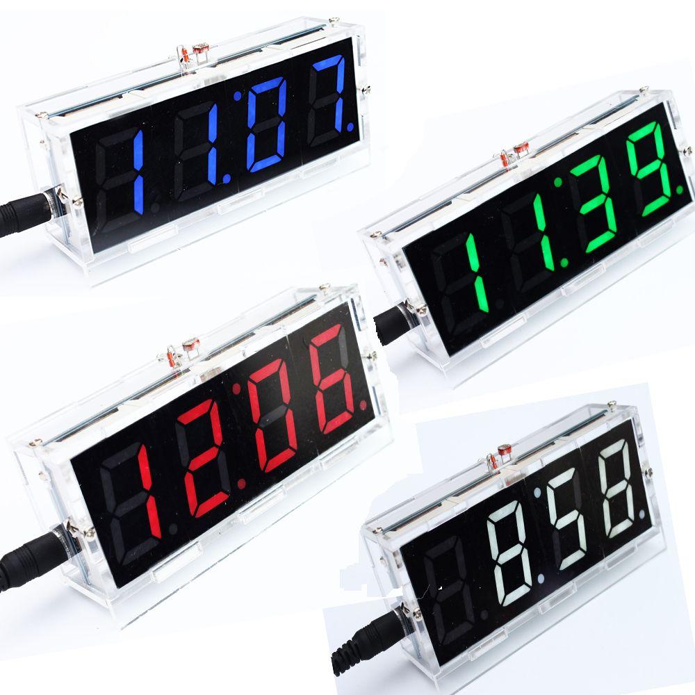 Kit de bricolage rouge LED horloge électronique microcontrôleur horloge numérique thermomètre de temps bricolage kit électronique