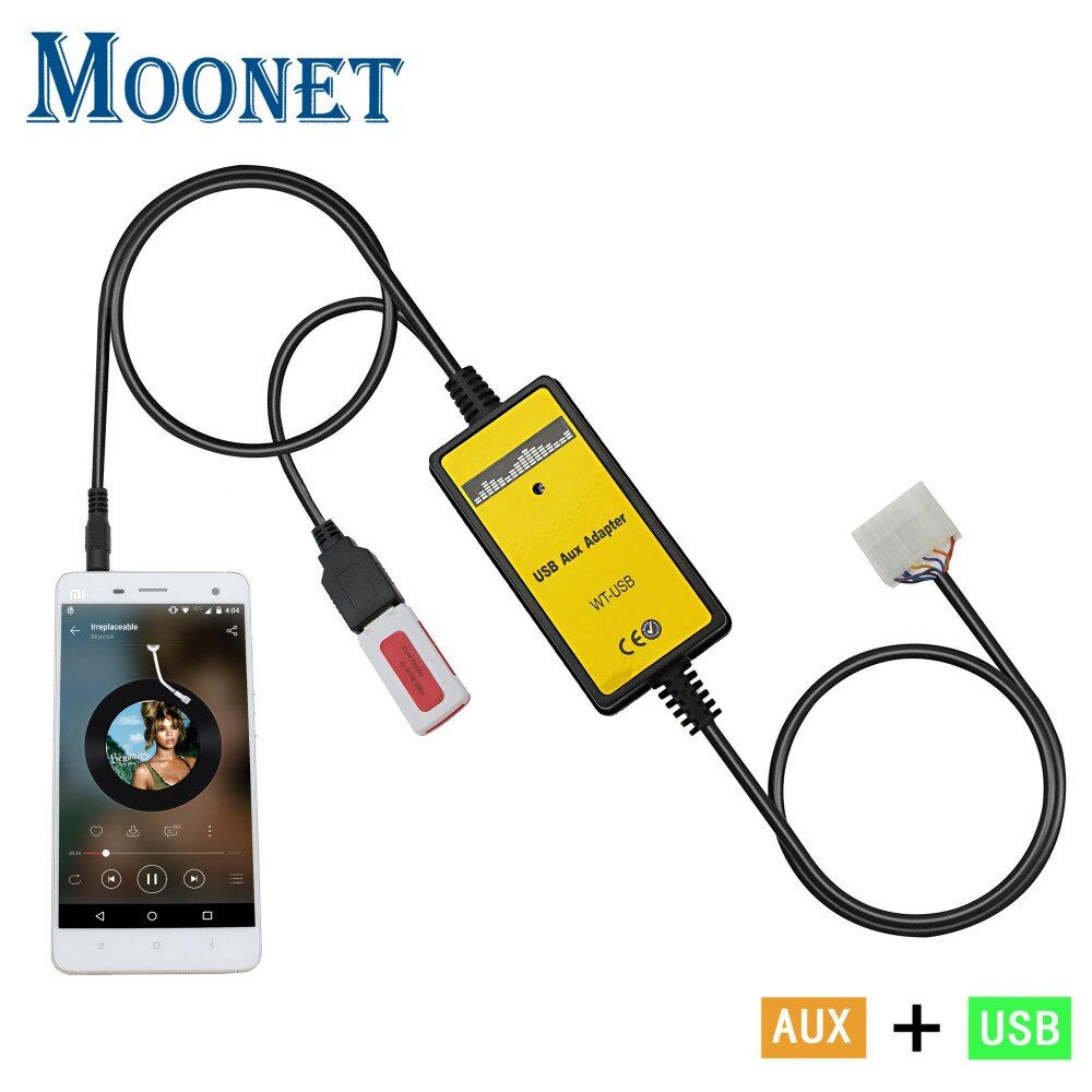 Moonet Car Mp3 player adapter 3.5mm AUX SD USB Music Adapter cable for Toyota 5+7 Yaris Camry Fortuner Avensis QX018
