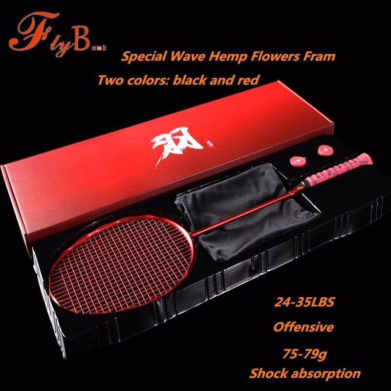 Neue Spezielle Welle Hanf Blumen Rahmen Badminton Schläger Voll Carbon Faser 5U Dämpfung Offensive Einzigen Tennisschläger Q1254CMB