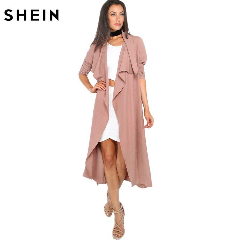 SHEIN Autumn Womens New Fashion Coffee Lapel Long Sleeve Trench Coat Open Front Tie Waist Casual Long Outerwear Windbreaker