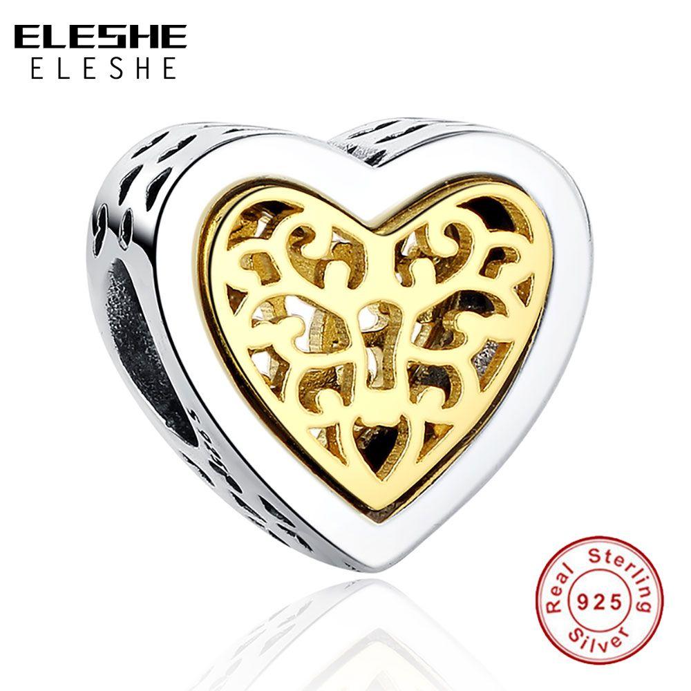 Marca de lujo 100% 925 Encantos Del Corazón de Plata de Bolas de Ajuste Original ELESHE Pulsera Collar Colgante Auténtico Jewelry Making