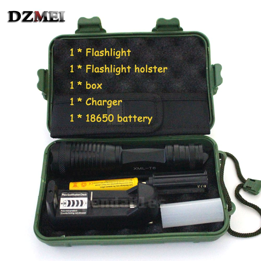 2000 Lumens CREE XML T6 LED Flashlight High Power Adjustable led Torch Zoomable Flashlight + Charger +1* 18650 Battery*Holster