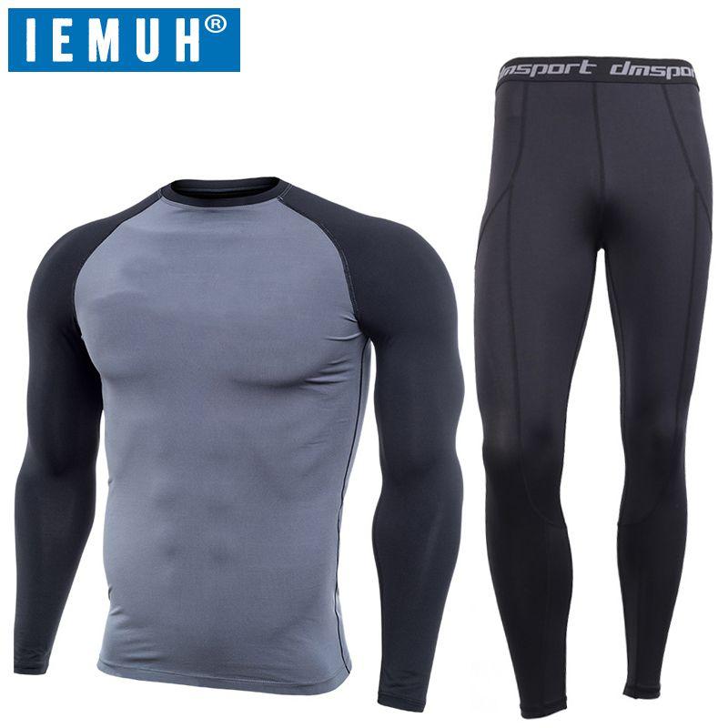 IEMUH Marke Outdoor Sports Männer Winter Thermo-unterwäsche Atmungsaktiv Schnell Trocknend Fitness Wandern Ski Männer Lange Unterhosen Unterwäsche Anzug