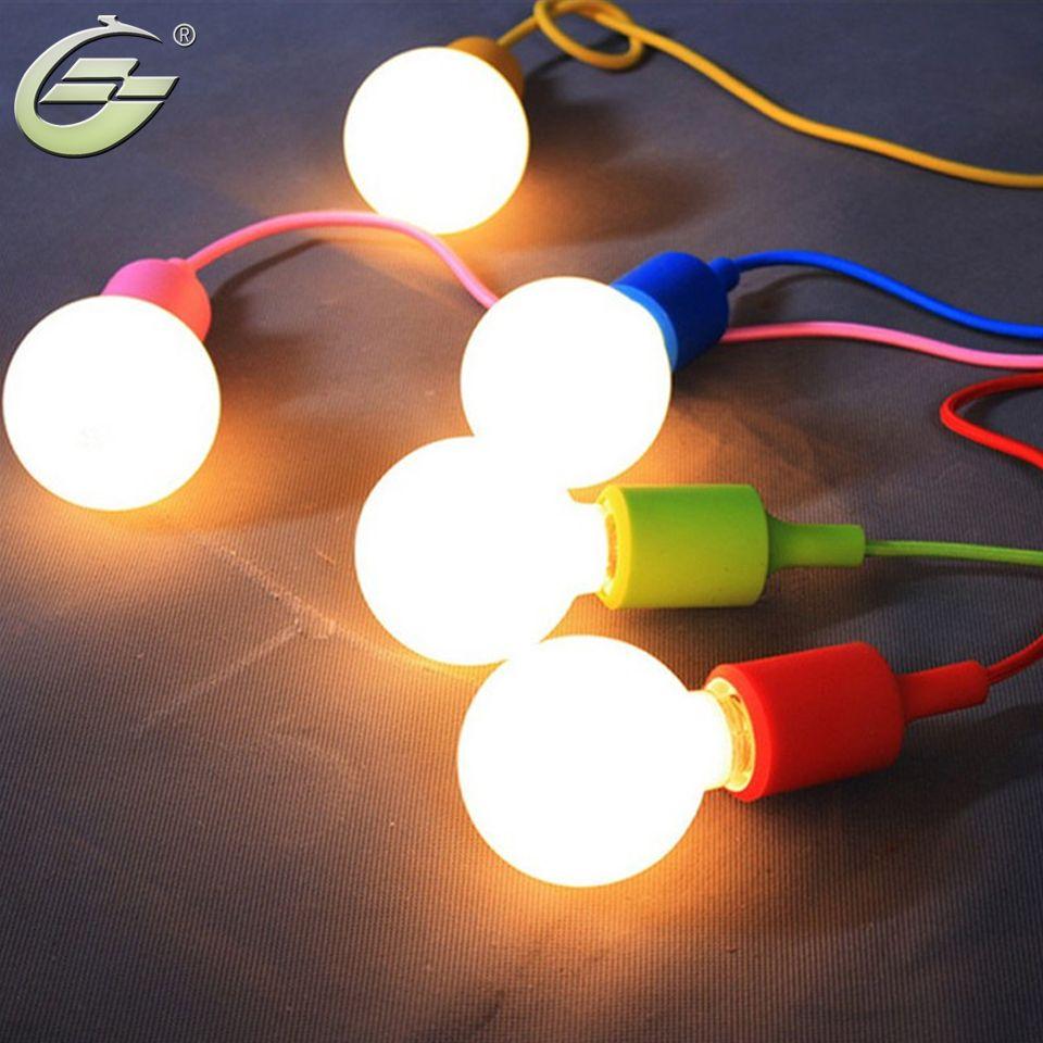 Простой E27 лампы подвесной светильник подвесной линии красочные силиконовой резины лампы детей Спальня Ресторан