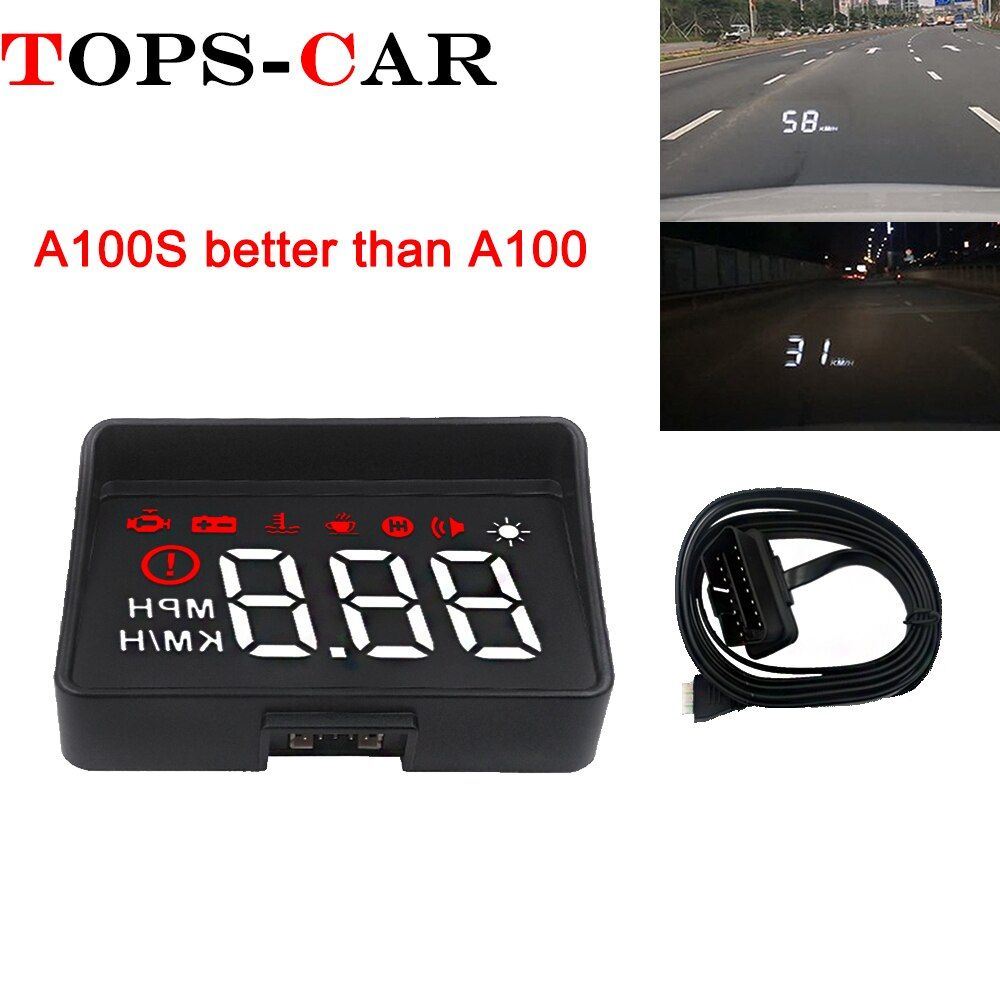 Newest A100S With Lens Hood Windshield Projector OBD2 II EUOBD Car HUD Head Up Display Overspeed Warning System Voltage Alarm