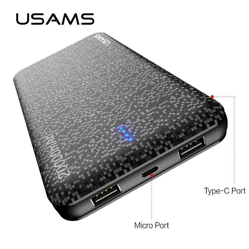 USAMS 20000 mah Power bank für iPhone Tragbare Batterie handy Power Dual USB Ladegerät für Xiaomi Power Bank für samsung
