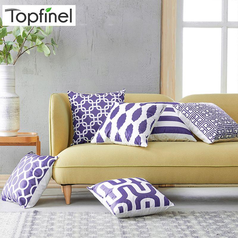 Top Finel géométrique décoratif taies d'oreiller 6 pièces housses de coussin pour canapé siège bureau chaise microfibre décoratif 45x45