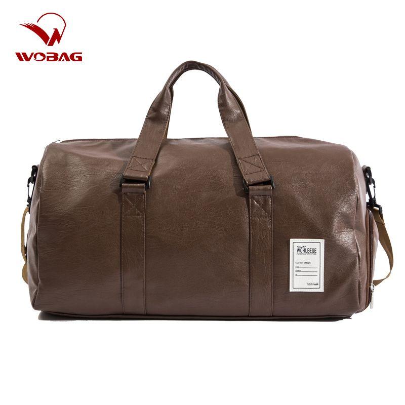 Hommes sac de voyage grand Duffle indépendant chaussures stockage grand Fitness PU cuir femmes sac à main sacs bagages sac à bandoulière