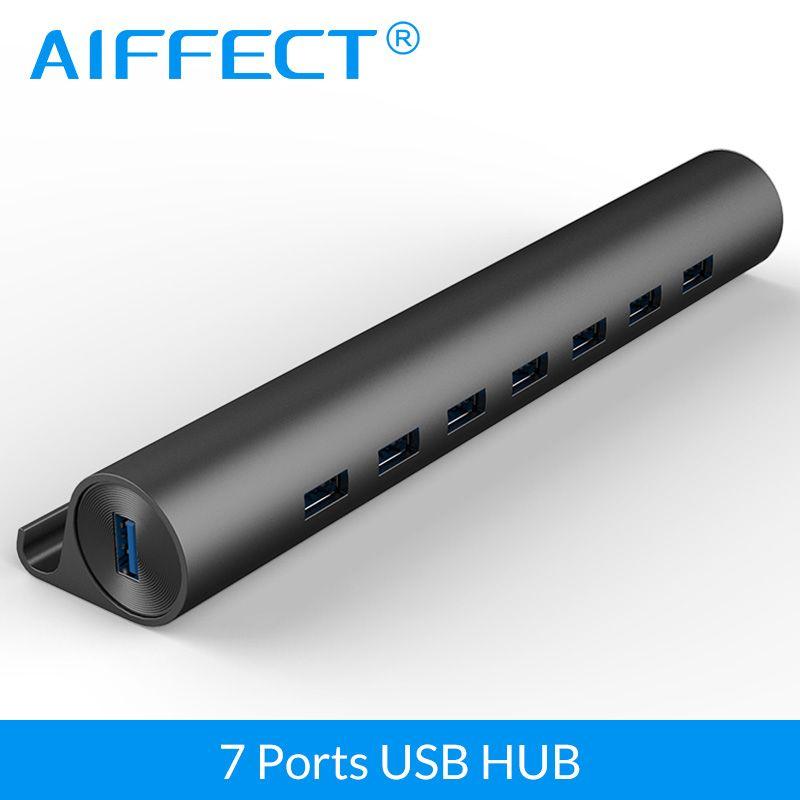 AIFFECT USB 3.0 MOYEU Haute Vitesse 5gbps En Aluminium 7 Ports USB 3.0 MOYEU Support de Téléphone OTG avec Micro USB port d'alimentation pour Téléphone Portable PC