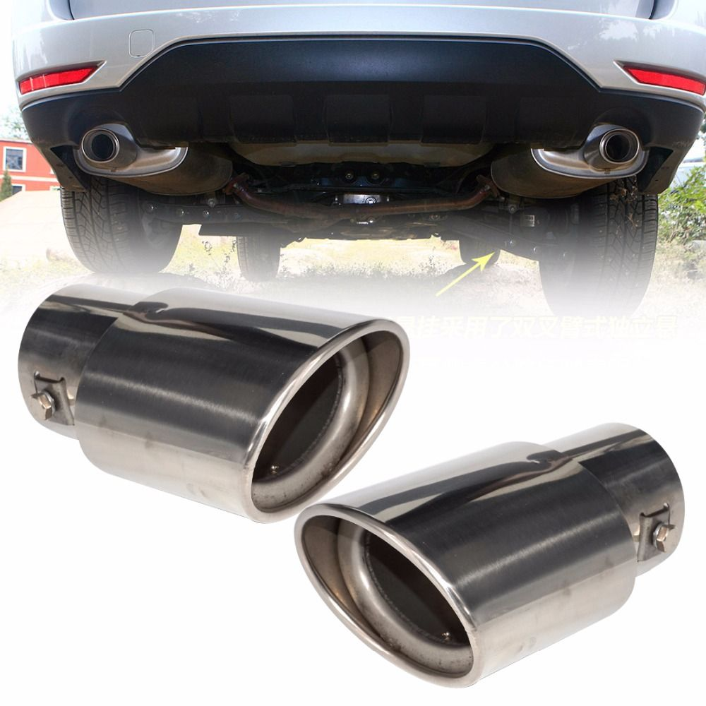 DWCX 2Pcs 2.5 63mm Stainless Steel Chrome Car Exhaust Tail Muffler Rear End Tip Pipe for Subaru Forester 2008 2009 2010 - 2012