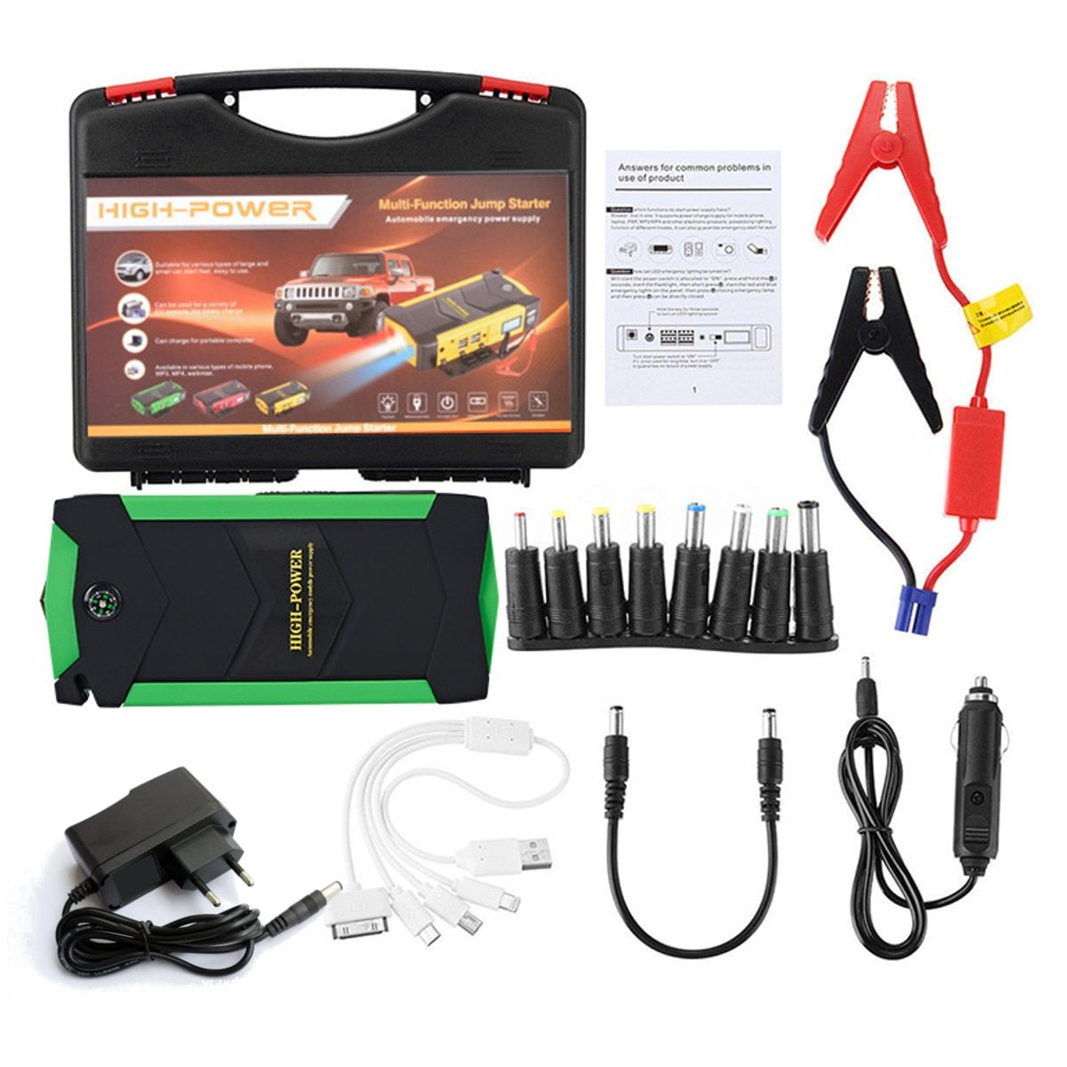 12V 82800mAh 4USB High Power Car Jump Starter Battery Charger Starting Car Booster Power Bank Tool Kit For Auto Starting Device