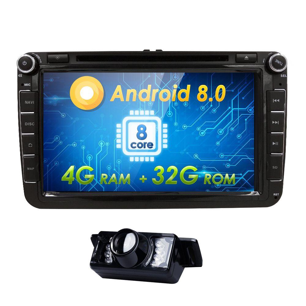Hizpo AutoRadio 2Din Android 8.0 Car DVD Multimedia for skoda octavia 2 3 VW passat b6 Seat leonVW T5 Amarok PoloTouran Golf 5 6