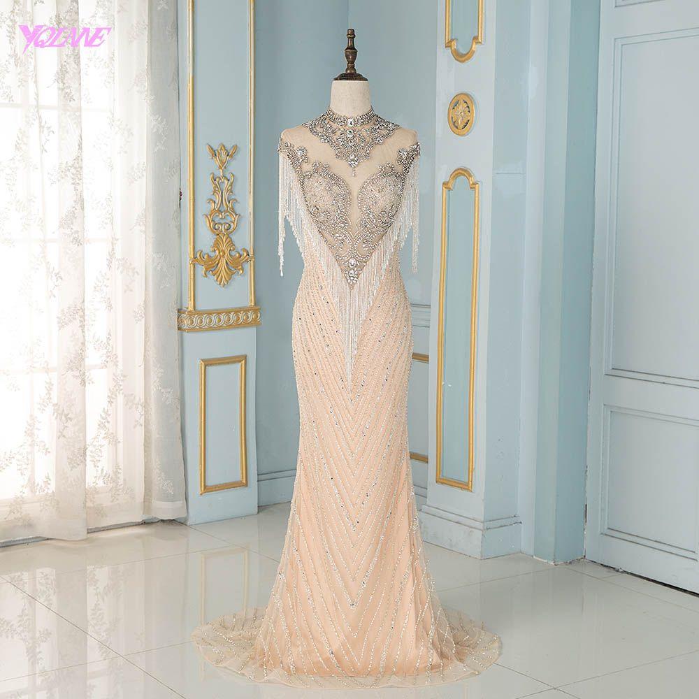 YQLNNE Luxus High Neck Nude Abendkleider Silber Kristalle Perlen Quaste Ärmellose Meerjungfrau Abendkleider High-end