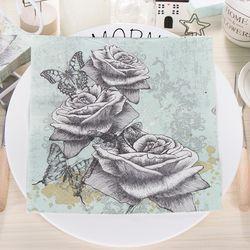 Vintage Rose Flower Butterfly Dragonfly Paper Napkins For Event & Party Decoration Tissue Decoupage 33cm*33cm 20pcs/pack/lot