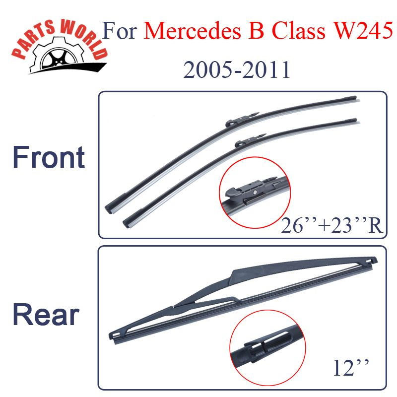 Combo Silicone Rubber Front And Rear Wiper Blades For Mercedes Benz B Class W245,2005-2011,Windscreen Wipers Car Accessories