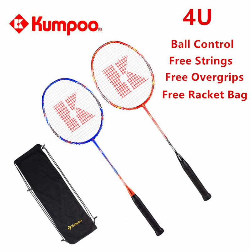 2 Pcs/lot Kumpoo Badminton Racket High Quality Ball Control Racquets Full Carbon Super Light 4U Raquette Up to 26LBS L810