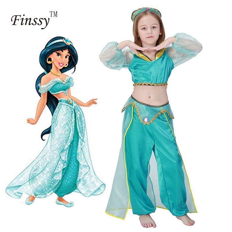 Обувь для девочек Лампа Аладдина Жасмин костюм принцессы s Косплэй для детей Хэллоуин вечерние живота платье для танцев индийский костюм пр...