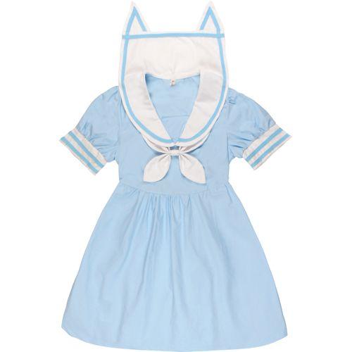 Soeur douce bleu/rose robes mignonnes japon HARAJUKU gothique Lolita bleu marine Style robe femmes Mori Style frais chat oreilles col OP robe