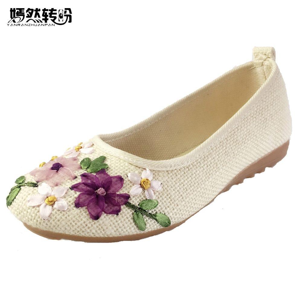 Vintage brodé femmes appartements fleur sans lacet coton tissu lin confortable ancienne pékin ballerine chaussures plates Sapato Feminino
