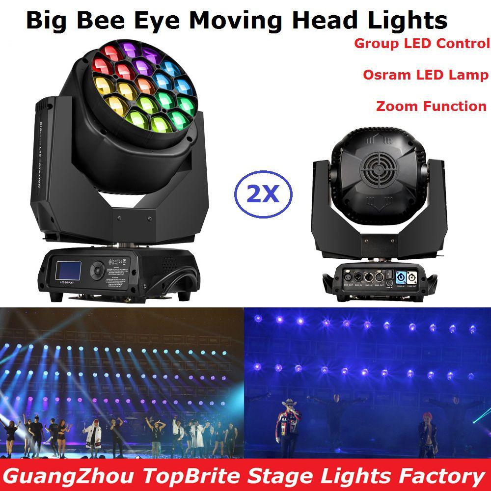 2 шт в кейсе 19x15 Вт RGBW 4in1 большой пчелы глаз перемещение головы Света Zoom профессиональной сцене перемещение голова прожекторы ЖК-дисплей Дис...