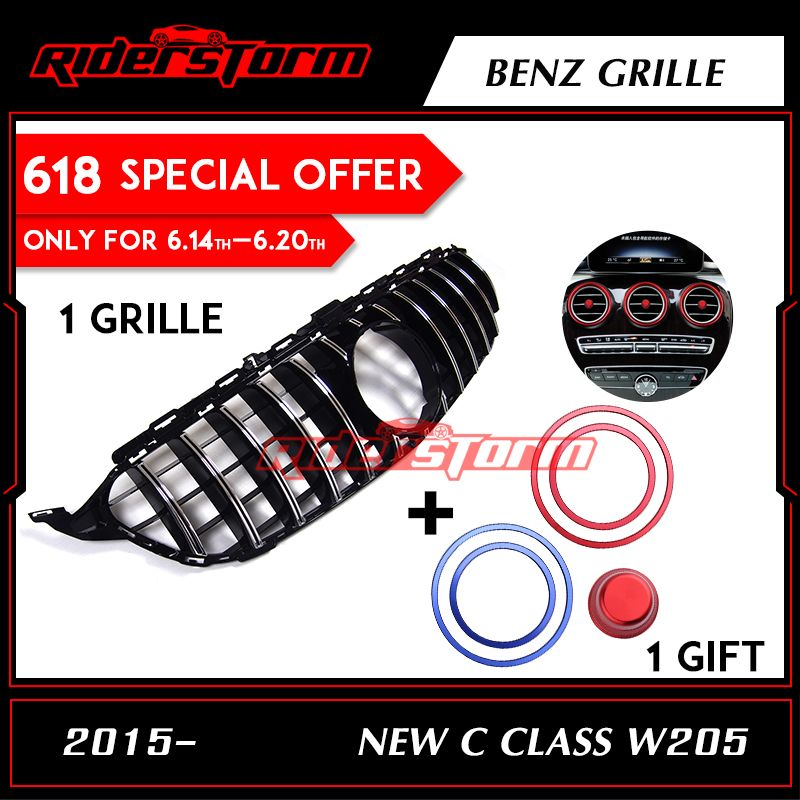 MID-YEAR SALE W205 GTR Grille Chrome Front Bumper Mesh GT R Grill For Benz W205 C-Class 2015+ Car Styling with/No Camera hole