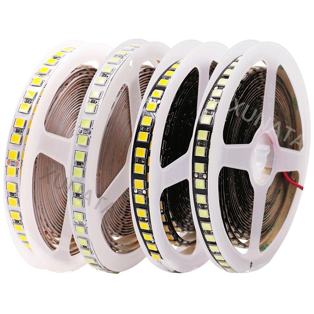 DC 24V LED Strip 5054 5M 600LEDs Black PCB Flexible LED Light Tape 120LEDs/m Waterproof White Neon Rope Brighter than 5050 5630