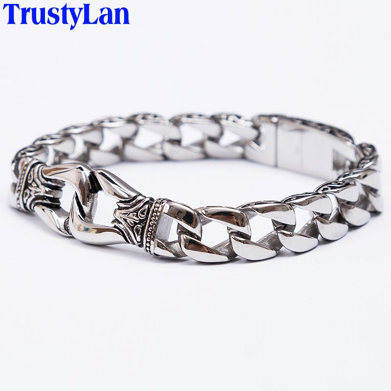 TrustyLan Fashion New Stainless Steel <font><b>Charm</b></font> Bracelet Men Vintage Totem Mens Bracelets 2018 Cool Male Jewelry Jewellery Armband