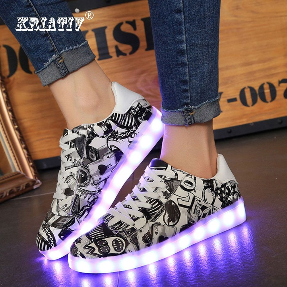 KRIATIV Hot&Cool!!! Fashion Girls <font><b>Luminous</b></font> Sneakers for Children Led Kids Glowing Sneakers High Quality Boy Girl Shoes Size35-44