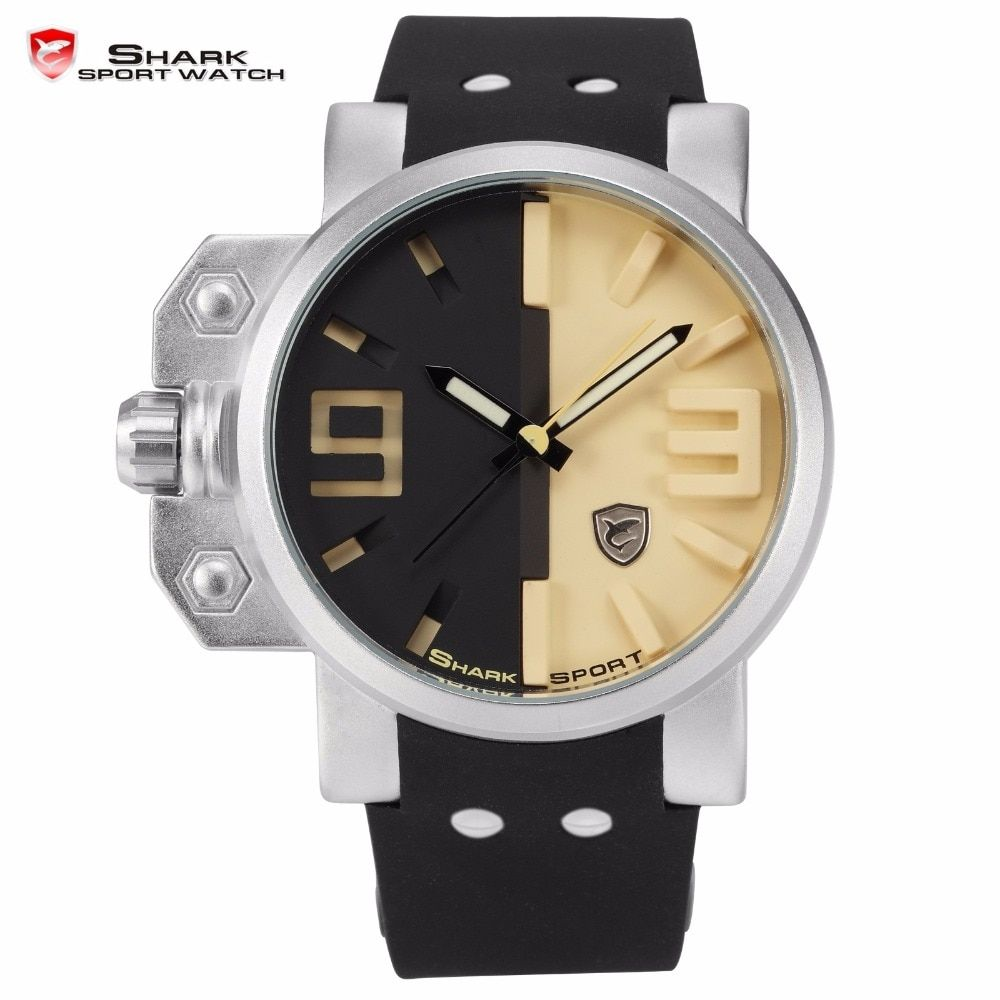 Salmon Shark Sport Watch Stainless Steel Case Black Yellow 3D Analog Luminous Hands Rubber Outdoor Mens Quartz Wristwatch /SH170