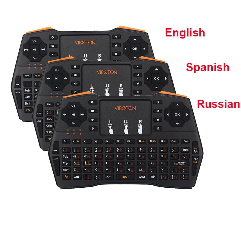 3 Language Keyboard <font><b>2.4G</b></font> Wireless Keyboard Russian Spanish English Version For PC Android TV Raspberry Pi for Orange Pi