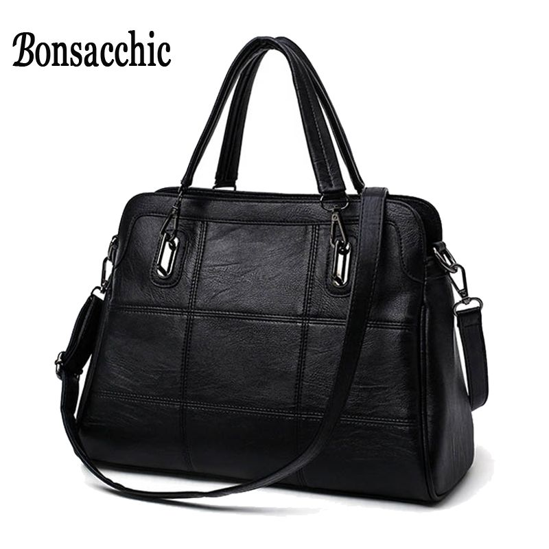 Bonsacchic Fashion Ladies Hand Bag Women's Genuine Leather Handbag Black Leather Tote Bag Bolsas femininas Female Shoulder Bag