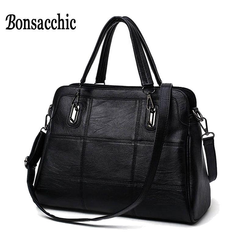 Bonsacchic Fashion Ladies Hand Bag Women's Genuine Leather Handbag Black Leather Tote Bag Bolsas femininas Female Shoulder Bag