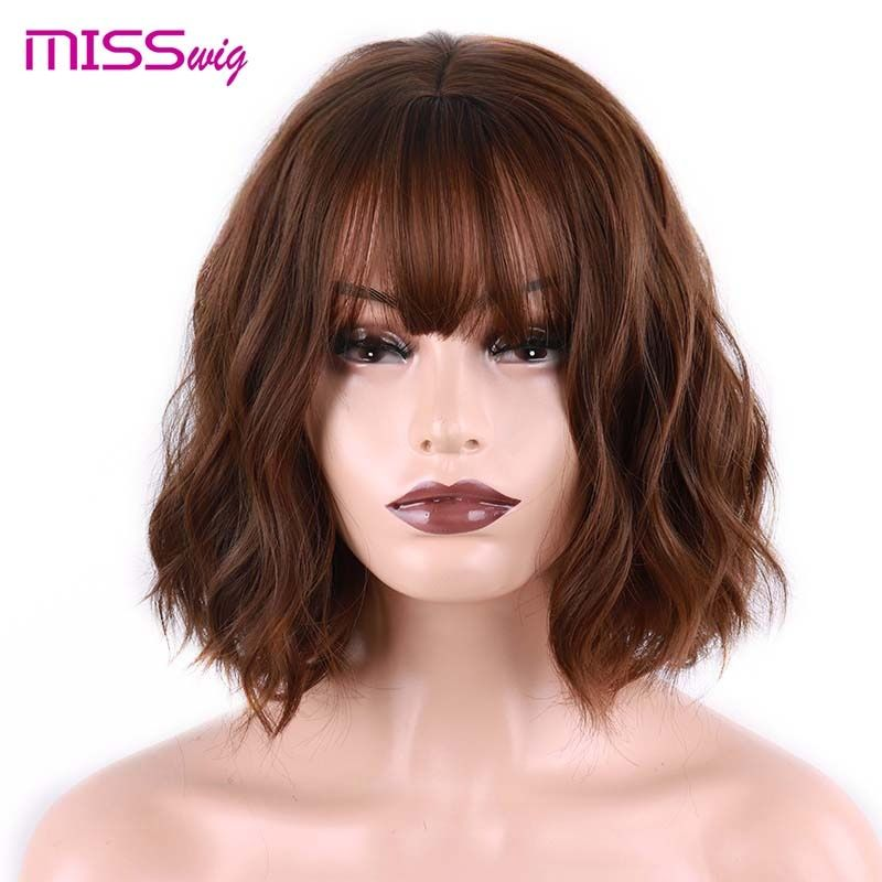 MISS perruque court vague d'eau cheveux synthétiques 8 couleurs disponibles perruque pour femmes fibre résistante à la chaleur quotidien faux cheveux