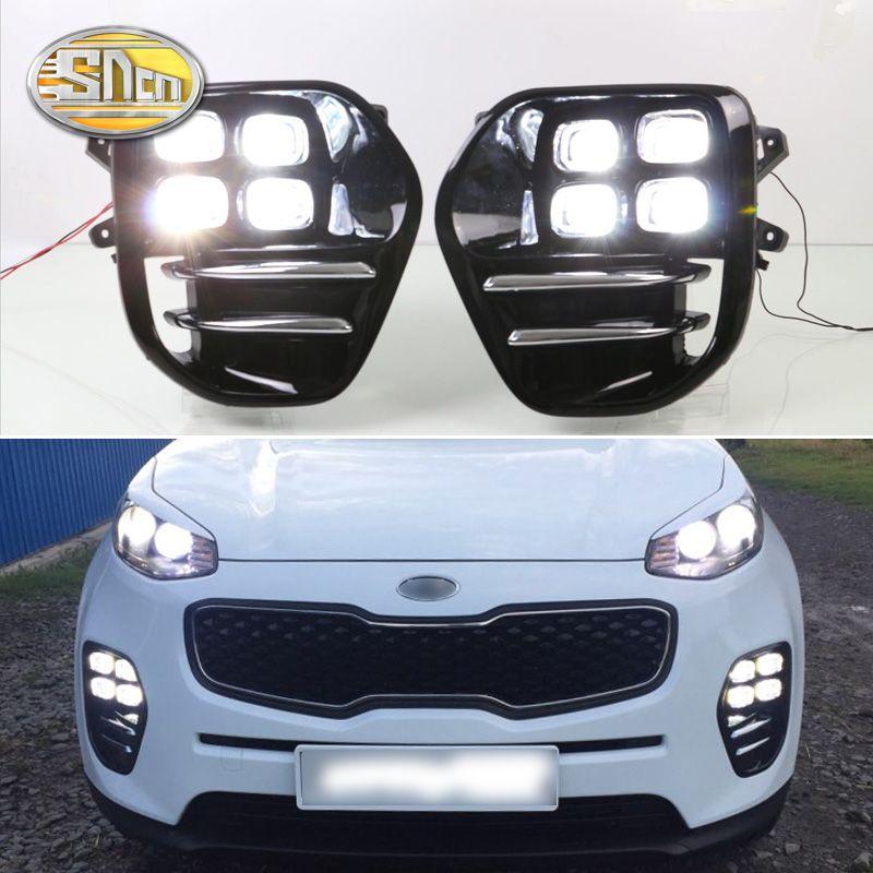 For Kia Sportage KX5 2016 2017 2018 Plug and Play Car 12V DRL Waterproof LED Daytime Running Light LED Fog Lamp Daylight SNCN