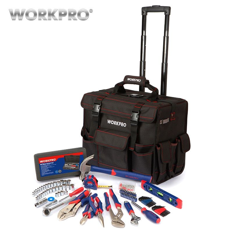 WORKPRO 176PC Home Tool Set High Quality Tool Bag Travel Trolley Bag with Hand Tools