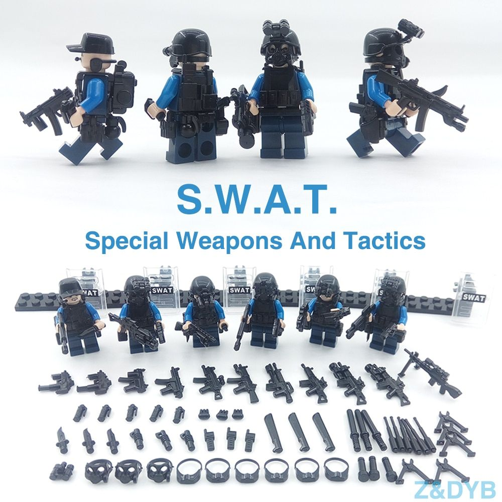 215PCS/Sets SWAT Team City Police Military Figures Soldier Army Gun Weapon Modern War Build Block Brick legoed For Children Toy
