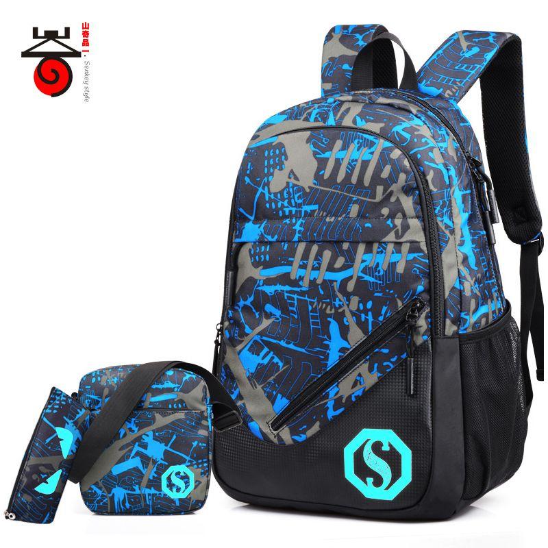 2018 Senkey style Fashion Men's Backpacks Male Casual Travel Luminous Mochila Teenagers Women Student <font><b>School</b></font> Bag Laptop Backpack