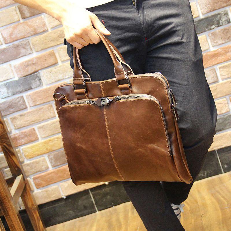 Nouvelle haute qualité pu cuir épaule loisirs sac pour hommes affaires messenger mallette portable ordinateur portable grand sac à main 14