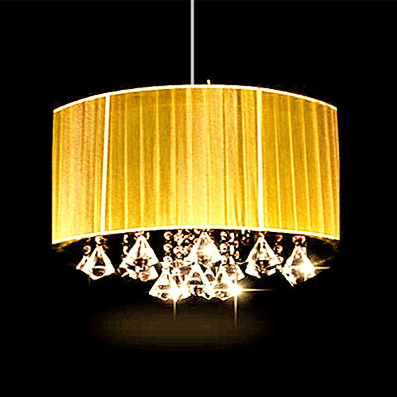 Простые Модные Гостиная Кабинет LED блеск овал света люстра щеткой ткани абажур k9 кристалл Luminaria