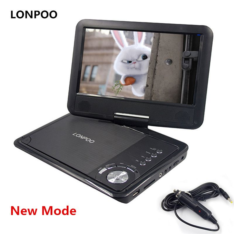 LONPOO New 9 Inch Portable DVD Player Swivel Screen VCD CD MP3 DVD Player USB SD Card RCA TV Cable Game Car Charger DVD Player